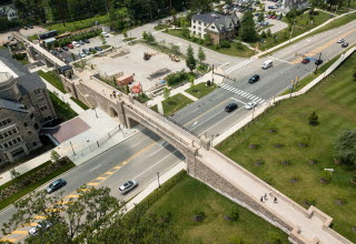 Birds eye view of Villanova Pedestrian bridge